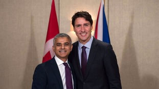 Mayor of London Sadiq Khan (left) meets Canadian Prime Minister Justin Trudeau
