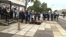 he Duke of Cambridge came to the aid of the Queen's representative in Essex when he took a tumble this morning.