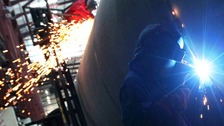 A welder at a factory in Edinburgh