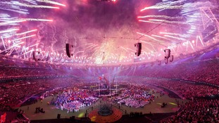 Fireworks are let off to signal the end of the Paralympic Games