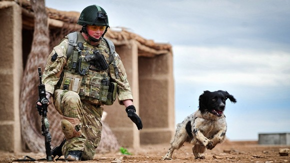 Lance Corporal Liam Tasker with Theo training in Afghanistan in 2011