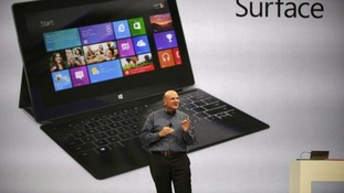 Microsoft CEO Steve Ballmer unveiling 'Surface' earlier this year ahead of today's official launch