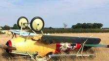 A vintage plane crash lands