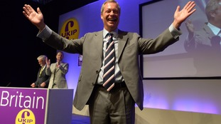 Nigel Farage marks final conference as Ukip leader by going for late-night swim