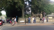 Crowds arriving at a church in Otley ahead of Lizzie Armitstead's wedding