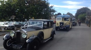 Wedding cars outside the Otley church