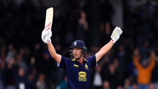 Warwickshire's Jonathan Trott raises his arms in celebration after hitting a four to win the match during Royal London One Day Cup Final.