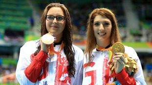 Jessica-Jane Applegate (l) and Bethany Firth (r), pictured after an earlier event, took silver and gold in the final swimming competition of Rio 2016