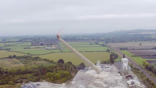 Landmark 400ft chimney brought down with a bang