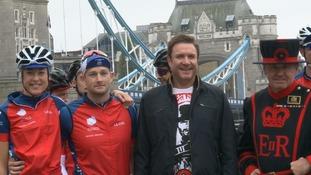 Simon Le Bon and cyclists.