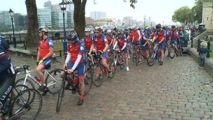 Cyclists at Tower Bridge