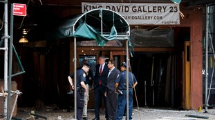 The New York mayor and governor at the bomb site.