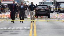 New York Mayor Bill de Blasio and New York Governor Andrew Cuomo survey the site of the blast.
