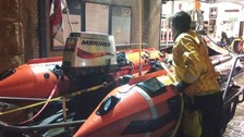 The RNLI inshore lifeboat back at base at Newquay