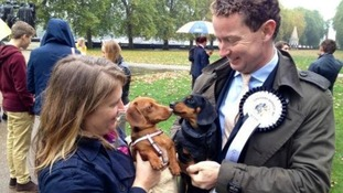 Environment minister Greg Barker with his political pooch Otto make friends