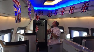 Union Jack bunting has been put up in the cabin.