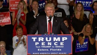 Donald Trump focused on the New York bombing in his address to supporters in Estero, Florida.