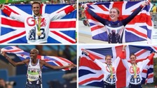 Multiple medal winners Jason Kenny, Laura Trott and Mo Farah and rowing duo Helen Glover and Heather Stanning.