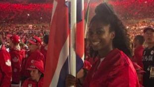 Kadeena Cox with the GB flag
