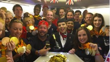 GB Paralympians ahead of take-off on their flight home from Rio