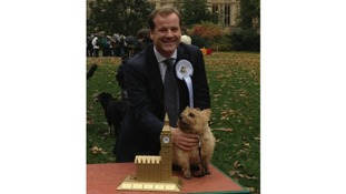 Charlie Elphicke with Star, the Westminster Dog of the Year 2012 winner Star