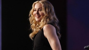 Recording artist Madonna takes part in a news conference ahead of her  Super Bowl performance