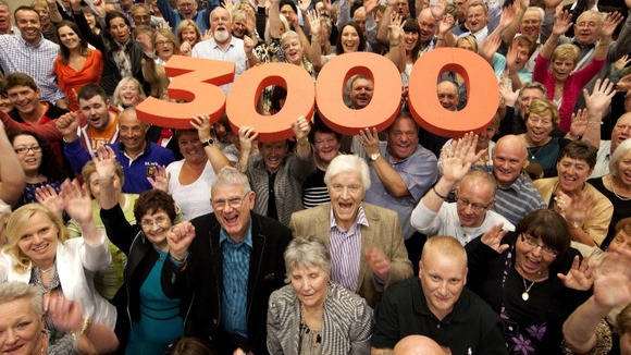 National Lottery's millionaires gather to celebrate the National Lottery reaching landmark of 3,000 millionaires in UK since 1994 launch.
