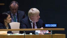 Boris Johnson and International Development Secretary Priti Patel wait to hear Theresa May address the UN General Assembly.