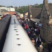 Crowds gather at the arrival of the Flying Scotsman