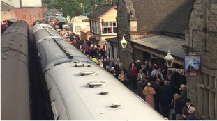 Passengers prepare to board the Flying Scotsman