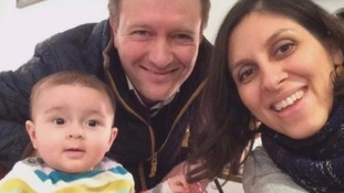Nazanin Zaghari-Ratcliffe with her husband and daughter.