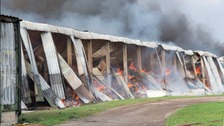 A storage unit has gone up flames in Walesby in Nottinghamshire