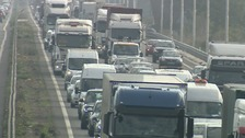 Queues on the A14 following a crash this morning.