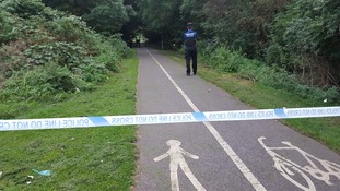 Police at a cycle path in Stockton where a teenager was raped