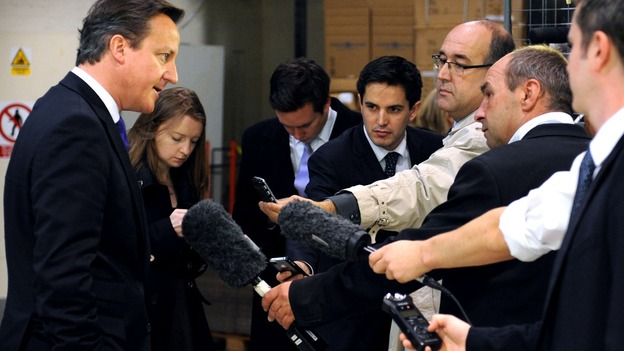 David Cameron talks to the media about today's GDP figures