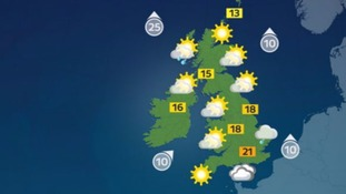 Largely cloudy with top temperatures of 21C (70F).