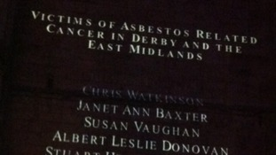 The projection of one hundred names of victims who have died of asbestos cancer