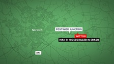 A man in his 50s has died in a crash on the A47.