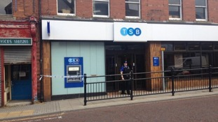 Police outside the TSB Bank in Horden