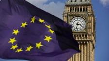The EU flag flutters in front of Big Ben