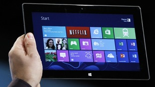 Microsoft tablet PC Surface is shown at the launch event of Windows 8