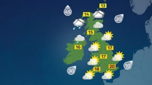 Sunny in Wales and England, but increasingly cloudy in the north and west.