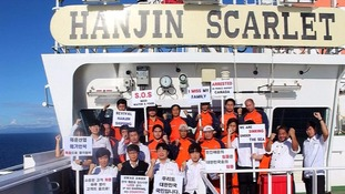 Crew aboard Hanjin Scarlet