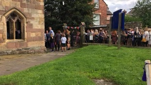 People gathering at St Mary's Church in Wirksworth