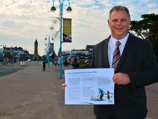 Councillor Steve Kirk, Portfolio Holder for Coastal Economy, is pictured on Tower Esplanade in Skegness for the launch of the Economic Action Plan