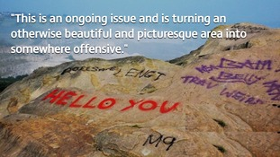 Graffiti sprayed on popular Derbyshire beauty spot