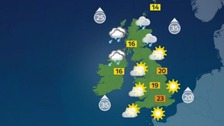 Weather: Wind and rain in the north, fine and dry elsewhere