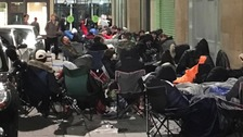 Fashion fans camp overnight to buy new trainers