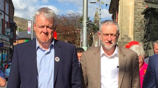 Carwyn Jones and Jeremy Corbyn on an election campaign visit