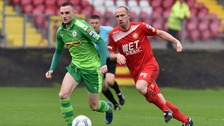 Cliftonville's Jude Winchester on the ball against Portadown.